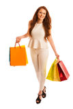 Woman with shopping bags after a successful purchase on the sale Stock Images