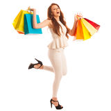 Woman with shopping bags after a successful purchase on the sale Royalty Free Stock Photography