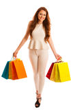 Woman with shopping bags after a successful purchase on the sale Royalty Free Stock Photos