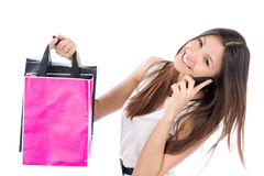 Woman shopping bags talking on phone mobile Royalty Free Stock Photo