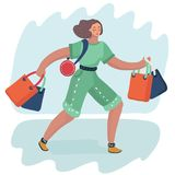 Woman shopping bags. Vector cartoon illustration of Woman carry shopping bags. Young beautiful fashion shopper girl for sale advertising. Exiciting girl. Female royalty free illustration