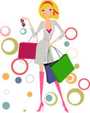 Woman with shopping bags. Vector illustration of a woman with shopping bags stock illustration
