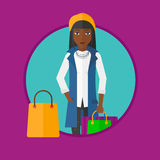 Woman with shopping bags vector illustration. Royalty Free Stock Photography