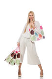 The woman with shopping bags on white Stock Images