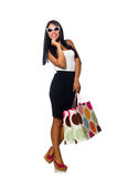 Woman with shopping bags on white Royalty Free Stock Photo