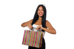 Woman with shopping bags on white Stock Photography