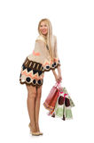 Woman with shopping bags on white Stock Photo