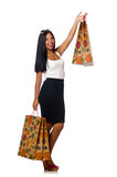 The woman with shopping bags on white Stock Image