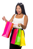 The woman with shopping bags on white Royalty Free Stock Photography