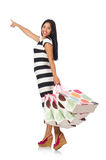 The woman with shopping bags on white Royalty Free Stock Photo