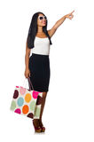 Woman with shopping bags on white Royalty Free Stock Photography