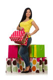 The woman with shopping bags  on white Stock Photos