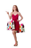 The woman with shopping bags on white Stock Photography