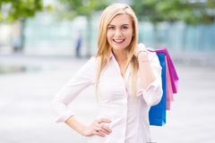 Woman with shopping bags Royalty Free Stock Images