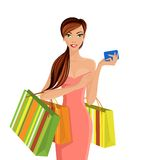 Woman with shopping bags. Young sexy attractive woman with shopping bags and smartphone vector illustration Royalty Free Stock Photos
