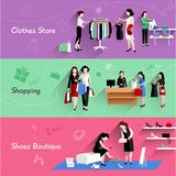 Woman Shopping Banner Set Royalty Free Stock Images