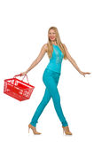 Woman with shopping basket isolated Royalty Free Stock Photo