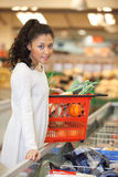 Woman With Shopping Basket Standing At Checkout Royalty Free Stock Images