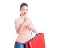 Woman at shopping being mad in fighting position Royalty Free Stock Photo