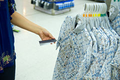 Woman shopping in big store Royalty Free Stock Photography