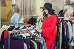Woman shopping in the boutique Stock Photography