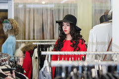 Woman shopping in the boutique Royalty Free Stock Images