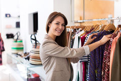 Woman shopping in a boutique Stock Image
