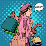 Woman shopping buy discounts look Royalty Free Stock Photo
