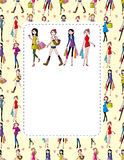 Woman shopping card. Drawing Stock Photography