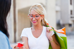 Woman Shopping With Card Stock Image