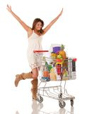 Woman with a shopping cart Stock Photos