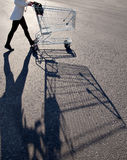 Woman with shopping cart Stock Photos