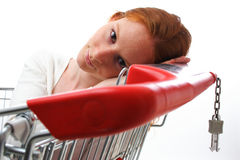 Woman in Shopping Cart Stock Image
