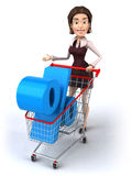 Woman with a shopping cart Stock Images