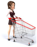 Woman with a shopping cart Royalty Free Stock Photo