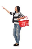Woman with shopping cart isolated on white Stock Photos