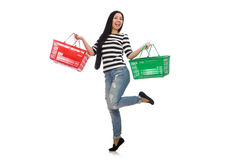 Woman with shopping cart isolated on white Royalty Free Stock Photos