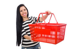 Woman with shopping cart isolated on white Stock Photo