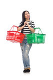 Woman with shopping cart isolated on white Royalty Free Stock Images