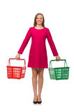 Woman with shopping cart isolated on white Stock Image