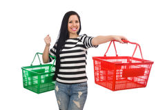 Woman with shopping cart isolated on white Royalty Free Stock Photography