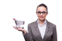 The woman with shopping cart isolated on white Royalty Free Stock Image
