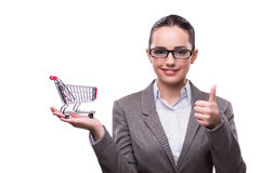 The woman with shopping cart isolated on white Royalty Free Stock Images