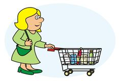 Woman and shopping cart. Lady is buying a shopping basket Stock Photo