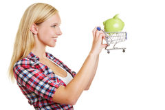 Woman with shopping cart and piggy bank Stock Photo