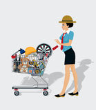 Woman Shopping Cart Royalty Free Stock Image