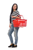 Woman with shopping cart on white Royalty Free Stock Photography