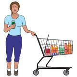 Woman with Shopping Cart. A young woman in a jogging outfit is reading the ingredients of a product vector illustration