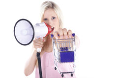 Woman with shopping carts Stock Images