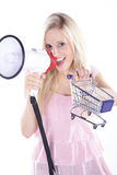 Woman with shopping carts Royalty Free Stock Photos